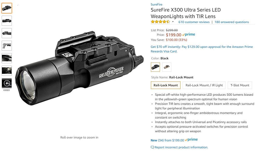 Fake Surefire x300u Amazon sale page