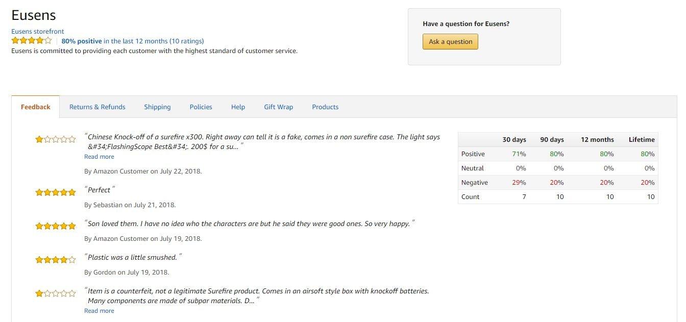 Eusens Amazon page