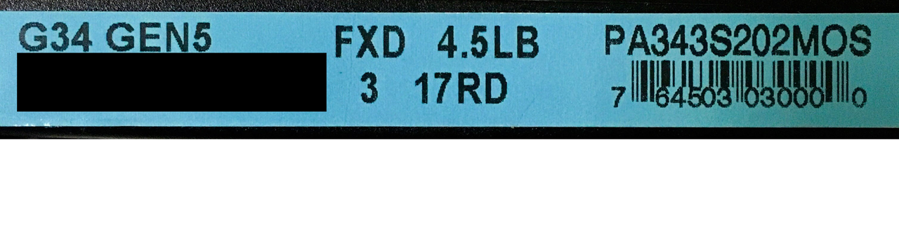 Glock 34 Gen5 Forward Serrations Label