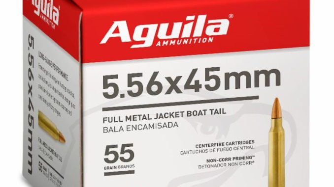 Image of Aguila Ammunition's 5.56 rifle ammo; now available in bulk quantity.