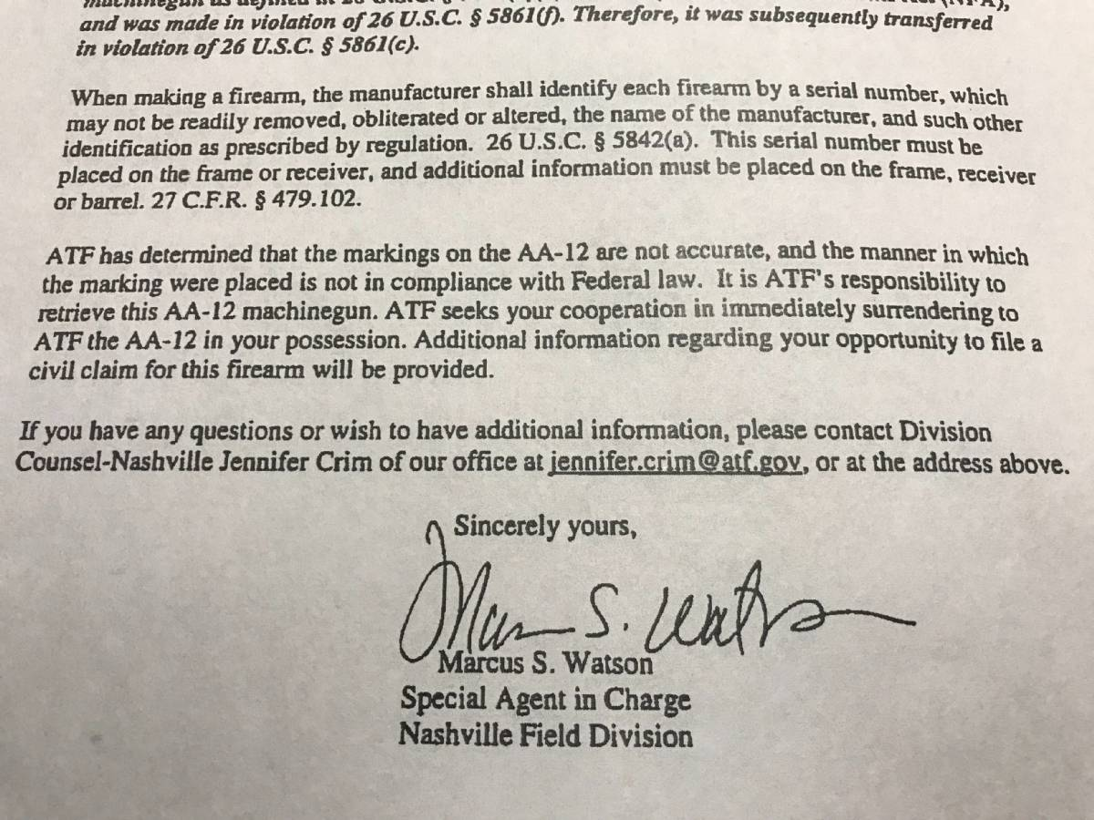 ATF Confiscating AA-12