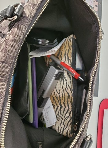 Gun in Messy Purse